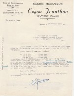 - ALLIER - FACTURE Scierie  Eugène JEANTHON à SOUVIGNY - 002 - Facturas & Documentos Mercantiles