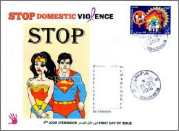 ALGERIJE 2016 FDC Domestic Violence Familiale Family Häusliche Gewalt Violencia Sun Soleil Disney Superman - Andere