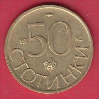 F6680 / - 50 Stotinki - 1992 - FISH , SUN , LION , Bulgaria Bulgarie Bulgarien Bulgarije - Coins Monnaies Munzen - Bulgarie