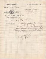 86 MONTMORILLON COURRIER 1923 Fabrique De TAILLANDERIE  A. QUETAUD _ Y5 C/ Chatellerault - 1900 – 1949