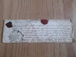 CACHET GENERALITE BORDEAUX 1781 Acte DORDOGNE Près SARLAT LE BUGUE Bourg De CAMPAGNE De 1787 Blason Armoirie Cachet Cire - Algemene Zegels
