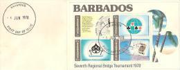 58231) FDC Delle Barbados-seventh Regional Bridge Tournament 1978-serie Completa In Foglietto -  6/6/1978 - Barbados (1966-...)
