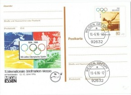 GYM-L1 - ALLEMAGNE Entier Postal Carte Illustrée Centenaire Des Jeux Olympiques Gymnastique Cheval D'Arçon - [7] République Fédérale