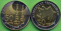 Azerbaijan 2006 (ND) 50 Qapik Coin Bi-metal Bimetal KM#44 UNC / BU !!! - Azerbaiyán
