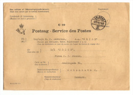 DENMARK DANMARK POSTSAG SERVICE DES POSTE C 10 AALBORG 12/12/1945 POUR KOBENHAVN - 2 Scans - - Dinamarca