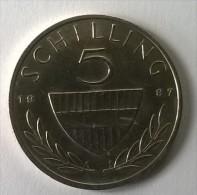 Monnaie - Autriche - 5 Schilling 1987 - Superbe - - Autriche