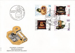 Schweiz MiNr.1585 / 1588 Musik-Automaten Illustrierter Ersttagsbrief / FDC - FDC