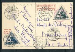 INDES NEER. 1933 CPA Illustrée 1° Liaison Express Amsterdam/ Bandoeng (timbres Mixtes Indes & Pays Bas) - Niederländisch-Indien