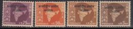 4v India MNH 1963, Ovpt. Laos, Map Series, Ashokan Watermark, - Franchise Militaire