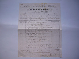 Facture Ateliers Constructions Mécaniques Deletombe & Grolez 1878 à Tourcoing - Francia