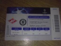 Football Soccer. Ticket Spartak Moscow - Chelsea 19.10.2010