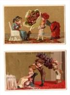 Lot De 2 Chromos Chocolat Goursat, Angoulème, Bouquets De Fleurs - Chromo