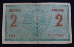 AUSTRIA 2 KRONEN 1914 PICK- 17b. VF., SERIAL# C - 778602 1513 - Austria
