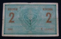 AUSTRIA 2 KRONEN 1914 PICK- 17b. VF., SERIAL# C - 419392 1261 - Austria
