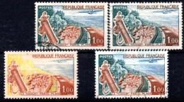 (L14)  N° 1355 Le Touquet : 4 Curiosités (2 Nuances De Teinte ; Vert Absent ; Grosses Taches) Voir Description - Curiosités: 1960-69 Oblitérés