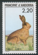 Andorra (French Adm.), European Hare (Lepus Europaeus), 1988, MNH VF - Unused Stamps