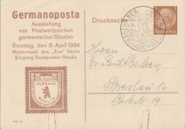 DR Privat-Ganzsache Minr. PP122 C3/02 SST Berlin 8.4.34 - Deutschland