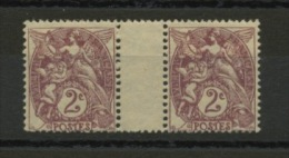 FRANCE - TYPE BLANC  - N° Yvert 108 ** EN PAIRE INTERPANNEAU - 1900-29 Blanc