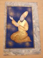 Miniature Perse Enluminure Magnifique Page Manuscrite Ancienne Rehaussée à La Feuille D'or - Art Oriental