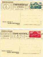 Entiers Postaux FRANCE N°Yvert 400-CP1 Et CP2 (MEMORIAL AUSTRALIEN) Obl Sp FLAMME Villers-Bretonneux 1938 - Unclassified