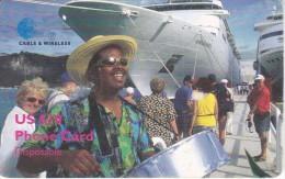 TARJETA DE BRITISH VIRGIN ISLANDS DE UN BARCO Y MUSICO - Islas Virgenes