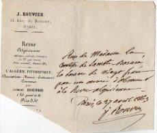 VP3383 - Reçu  - Revue Algérienne - L´Algérie Pittoresque - J. ROUVIER à PARIS Rue De BEAUME - Imprimerie & Papeterie
