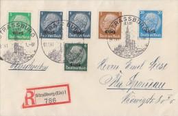 Elsass R-Brief Mif Minr.1, 2x 2, 3, 4, 9 SST Strassburg 8.1.41 - Besetzungen 1938-45