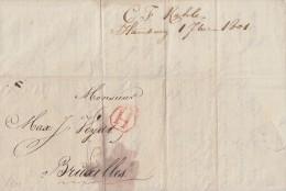 Transitbrief Hamburg 1801 Nach Brüssel Mit Rotem K1 H Warenliste Firma Kahle - Deutschland