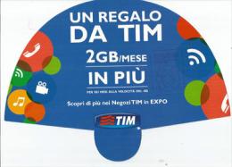 Telecom Italia TIM2GO, éventail Distribué à L´EXPO MILANO 2015 Pendant Canicule D´Août, Avec Tampon Officiel EXPO - Italie