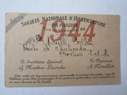 Publicité Société Nationale D'horticulture Rue De Grenelle Paris - Biglietti D'ingresso