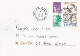 Saint Pierre And Miquelon, Charles De Gaulle, 2f30 On Cover, 2000 - St.Pierre & Miquelon