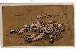 Chromo Mercerie, Bonneterie, Chemises, Champillou & Leoman, Orléans : Le Campement ( Soldats , Fusil ) - Autres
