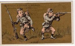 Chromo Mercerie, Bonneterie, Chemises, Champillou & Leoman, Orléans : Blessé ( Soldats , Fusil ) - Autres