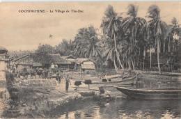 """04987 """"COCHINCHINE - LE VILLAGE DE THU - DUC"""" , BARCHE, CARRI. ANIMATA.  CART. POST. ORIG. NON SPEDITA. - Vietnam"""