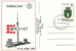 1987  323p. HMS Antelope Ensign On CAPEX'87 Souvrnir Postcard - Gibraltar