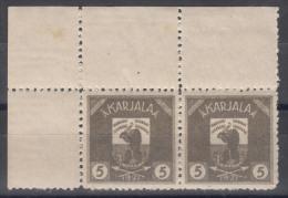Russia Occupation Finland, Karelia Karjala Karelien 1922 Mi#1 Mint Hinged, Marginal Pair With Margins
