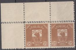 Russia Occupation Finland, Karelia Karjala Karelien 1922 Mi#4 Mint Hinged, Marginal Pair With Margins, Error- Double P.