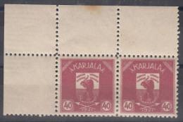 Russia Occupation Finland, Karelia Karjala Karelien 1922 Mi#5 Mint Hinged, Marginal Pair With Margins