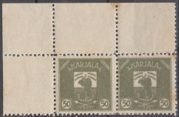 Russia Occupation Finland, Karelia Karjala Karelien 1922 Mi#6 Mint Hinged, Marginal Pair With Margins