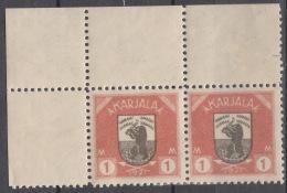 Russia Occupation Finland, Karelia Karjala Karelien 1922 Mi#8 Mint Hinged, Marginal Pair With Margins