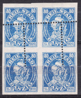 Danzig 1921 Mi#57 Piece Of Four Perforation Error, Mint Hinged - Danzig
