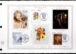 """DAP 1er Jour POLY-THEMATIQUE Nté / Soie RARE (1000 Ex.) """"  EDVARD GRIEG / JUAN MIRO / GEORGES DE LA TOUR """". Parf. état. - FDC"""