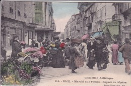 16-289 Marche Aux Fleurs Nice Façade De L Opéra Cpa Colorisé - Markets