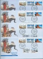 Australian Antarctic Territory 1984 Scene Definitives I 4 Base FDC Set Official Unaddressed - Unused Stamps