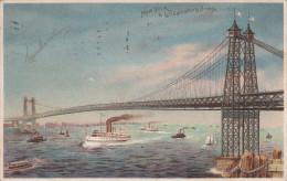 New York En Williamsburg Bridge Stamp Hudson Terminal Station 1909 - Ponts & Tunnels