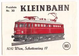 Preisliste Nr. 30 - KLEINBAHN  HO -1973 - Wien / Österreich - Erich Klein - Catalogues