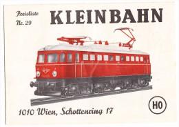 Preisliste Nr. 29 - KLEINBAHN  HO -1972 - Wien / Österreich - Erich Klein - Catalogues