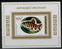 *B3* -  RWANDA 1973 - Pesci Diversi -  1 Val. In BF   MNH** - Perfetto - 1970-79: Mint/hinged