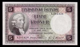 Iceland 5 Kronur 1943-1957 P.32a UNC - Iceland