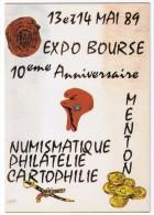 Illustrateur  DAVRUT  MENTON  10° EXPO BOURSE  1989   TBE - Bourses & Salons De Collections